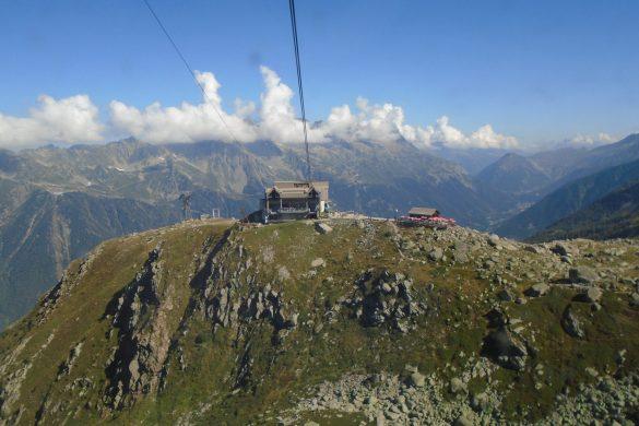 met een kabelbaan naar de Mont Blanc