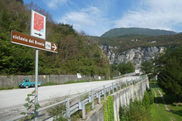 parkeren bij de fietsroute langs de Brenta